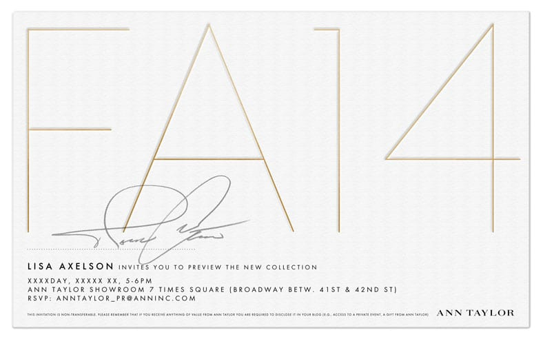 Ann Taylor Fall 2014 Collection Event Invite.